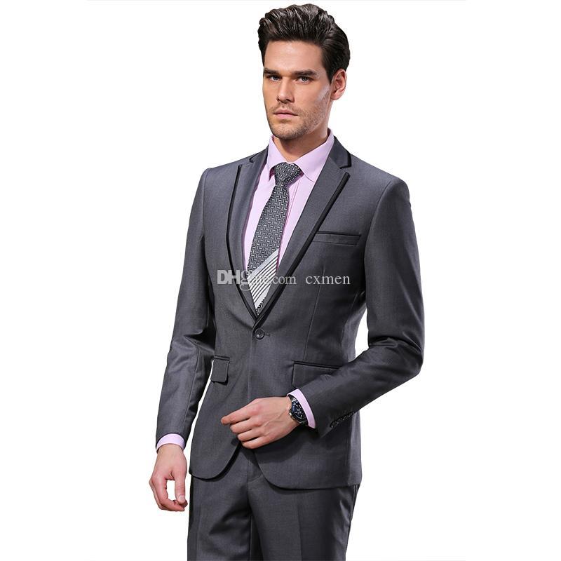 Tailleur d'affaires formel hommes gris costumes de mariage noir pantalon revers Groom Tuxedo garçons d'honneur costume meilleur homme Blazer Masculino Veste 2 Pièces