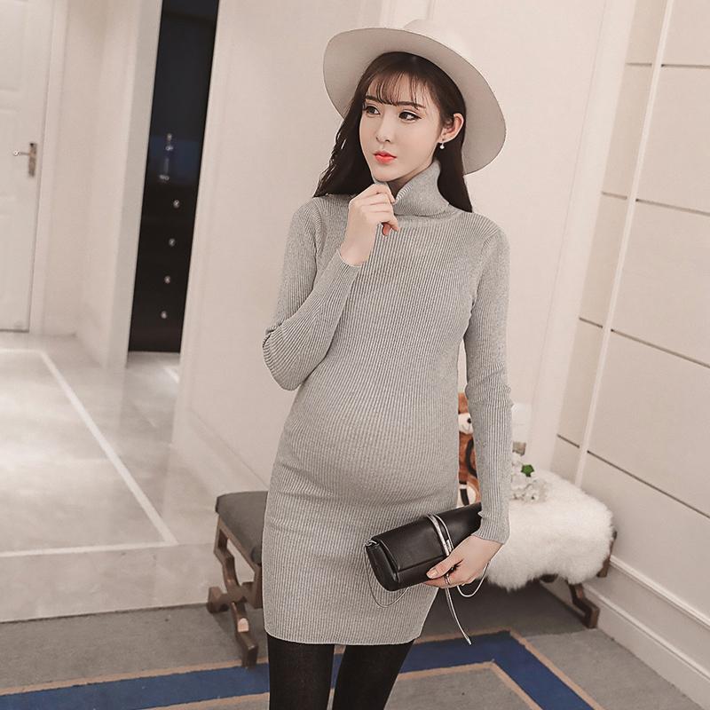 Осень зима мода материнства рубашки высокой шеи трикотажные мини-платье одежда для беременных тонкий свитер беременности