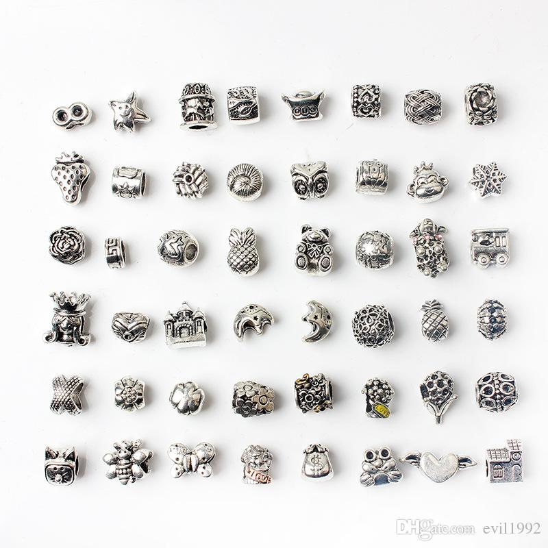 48PCS fascini misti dei branelli della lega all'ingrosso di stile per i monili Pandora europee braccialetti dei braccialetti delle ragazze delle donne migliori regali