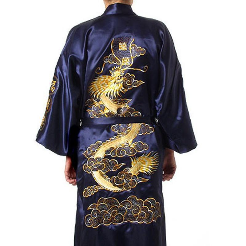 Kostenloser Versand Marineblau Chinesischen Männer Satin Seide Stickerei Robe Kimono Badekleid Drache Nachtwäsche Größe S M L XL XXL XXXL