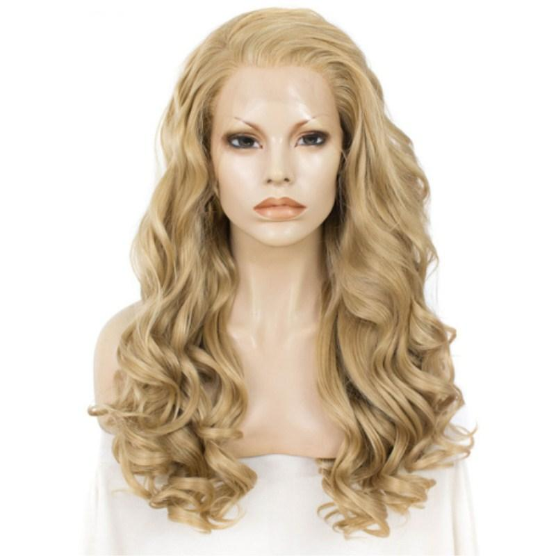 할로윈 스타일 긴 물결 모양의 금발 가발 레이스 앞 가발 내열 섬유 합성 레이스 가발 24 인치 긴 자연 머리 코스프레