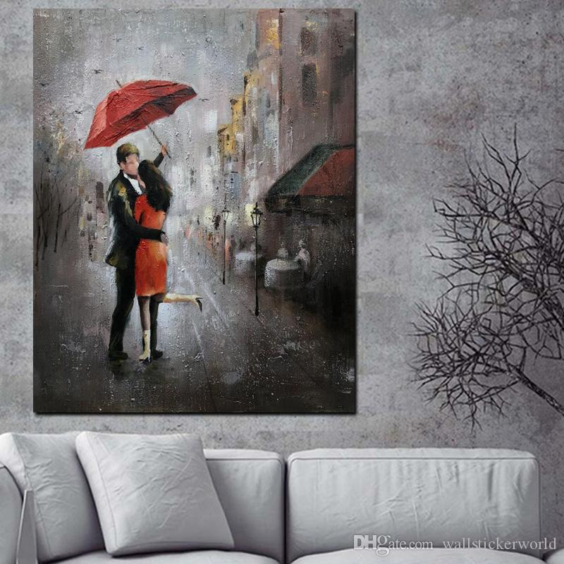 1 Piece HD Print Wall Art Romance Couple Rain Day Street Landscape Poster Oil Painting on Canvas Modern Wall Picture No Framed
