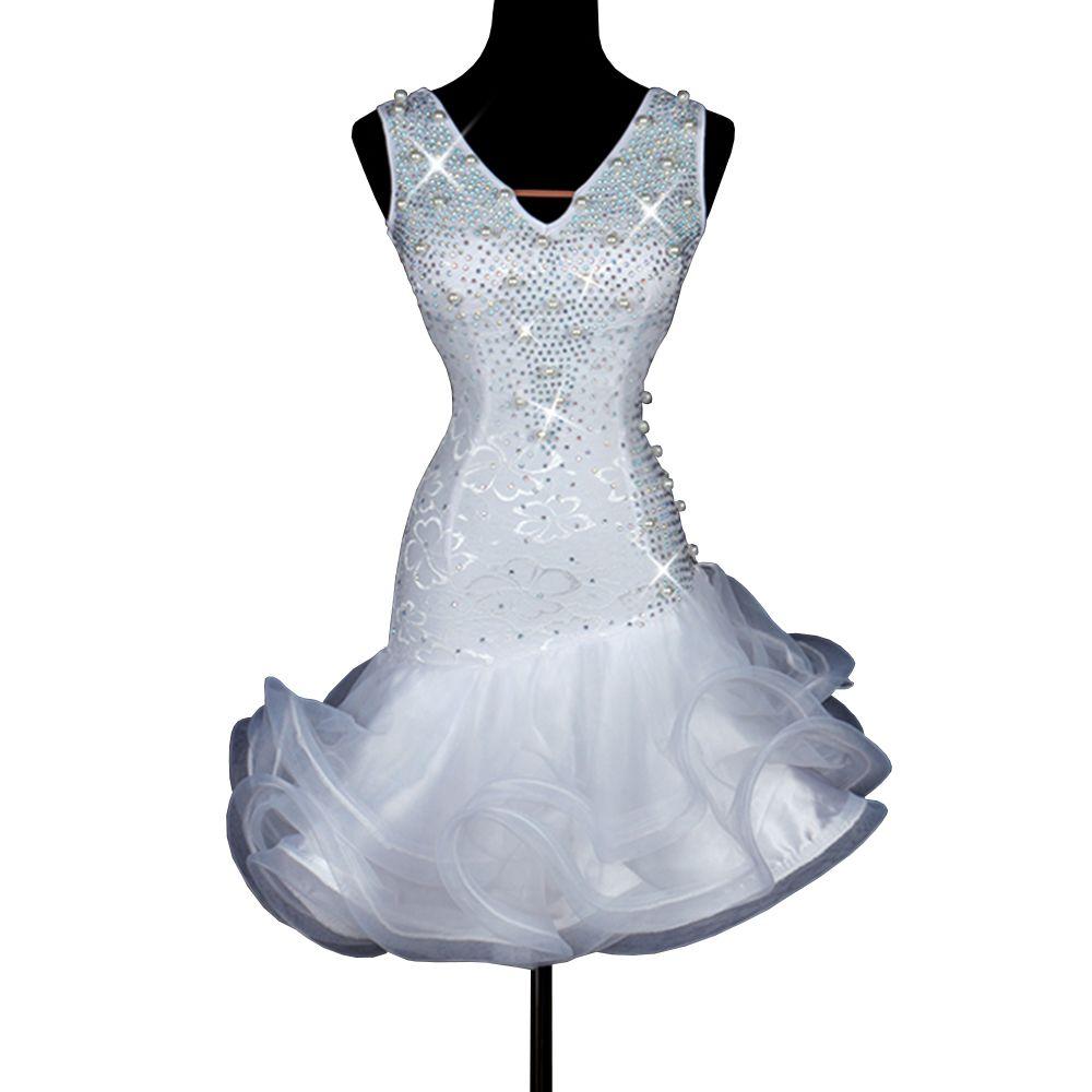 Chic Latin Dance Kleid Damen Mädchen Fransenkleid Latina Tango Salsa Tanzkleid D0175 mit Strass Strass Perlen 2 Farben zur Auswahl