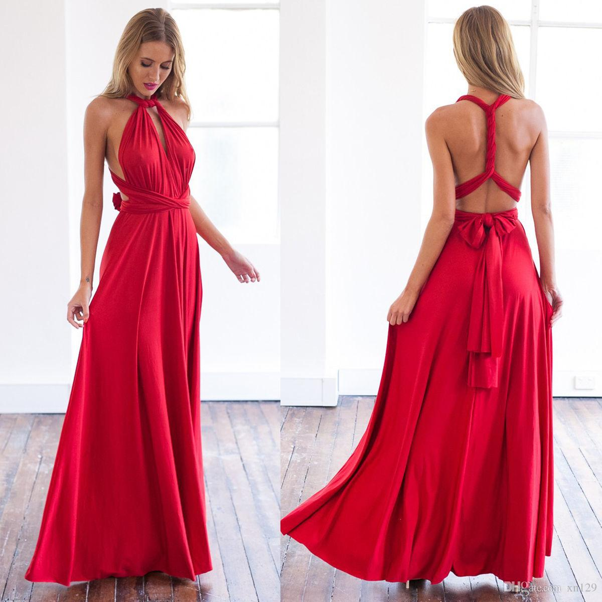 Vestidos longos formais da dama de honra do envoltório da maneira do Convertible do vestido de noite das multi vestidos das mulheres