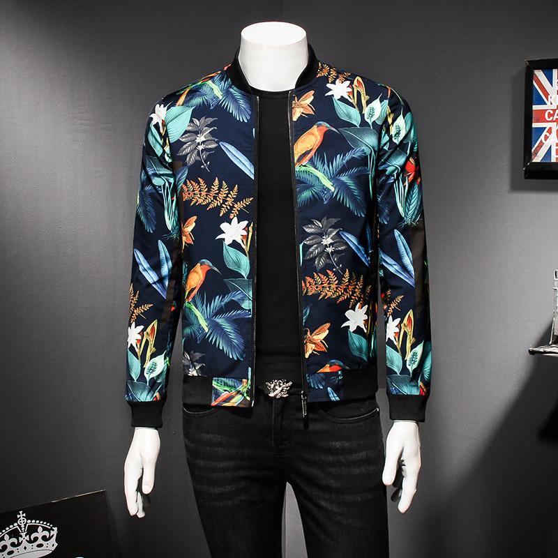 Mens Pattern Jacket Floral Print Male Jacket Vintage Classic Fashion Bomber Jackets Men Party Club Outfit Men oversize