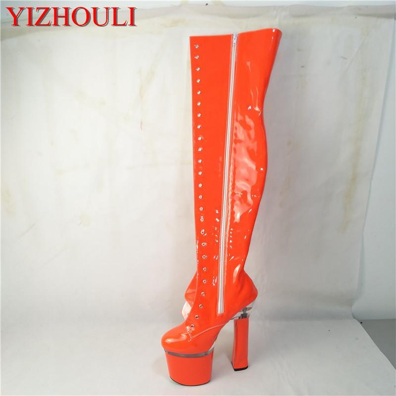 Новые сексуальные ботинки, модельное сценическое шоу, каблук высотой 18 см, квадратный каблук, сапоги выше колен, индивидуальные цвета