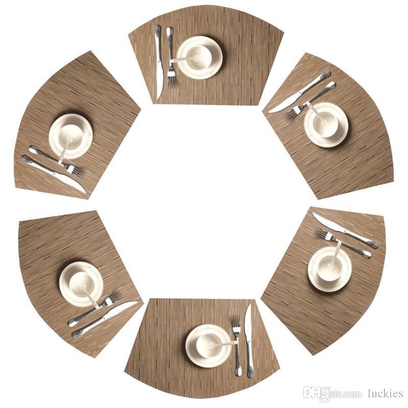 Круглый стол Placemats Винил Placemat для кухни Таблицы Теплоизоляции грязеотталкивающего моющийся Placemats для кухни Использования 0330