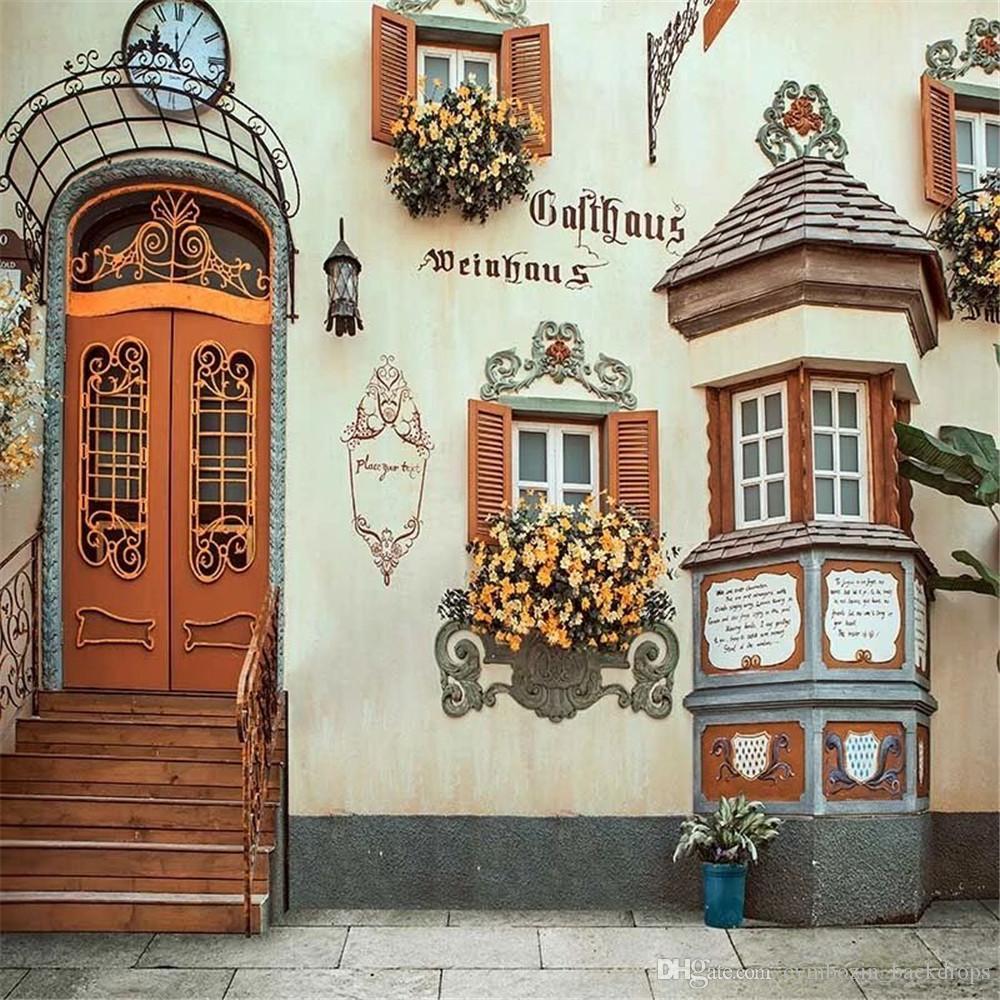 Arco Per Porta acquista retro stile europeo edificio ad arco porta scale sfondo di nozze  la fotografia di windows stampato fiori arancioni photo studio sfondi a