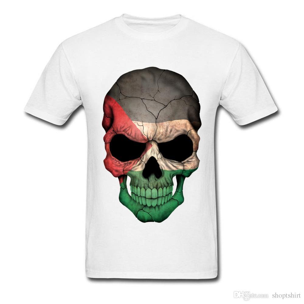 Панк-стиль мода мужская повседневная топы тройники Оптовая тройники палестинский флаг череп напечатаны на футболки пользовательские толстовки летние топы Майка