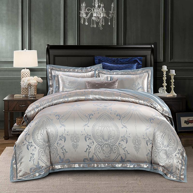 2018 실버 보헤미안 Bedlinens 실크 코튼 블랜드 이불 커버 세트 자카드 4pc 퀸 킹 침대 커버 시트 Pillowcases