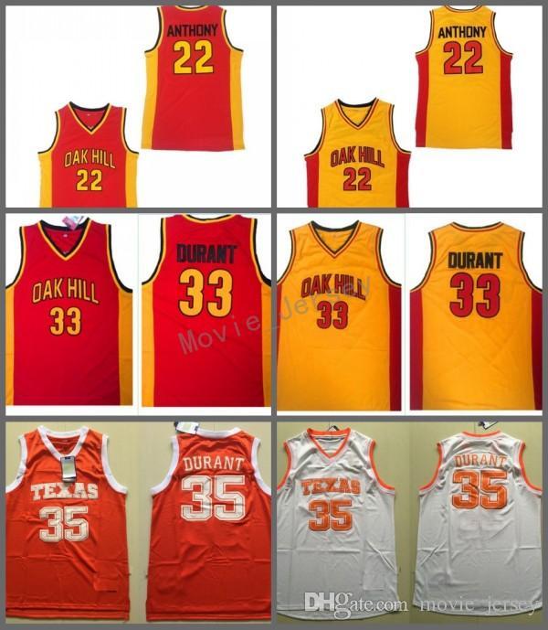고등학교 오크 힐 22 Anthony 유니폼 옐로우 붉은 색 33 Kevin Durant Texas Longhorns 대학 스티치 저지 스포츠 팬들을위한 통기성