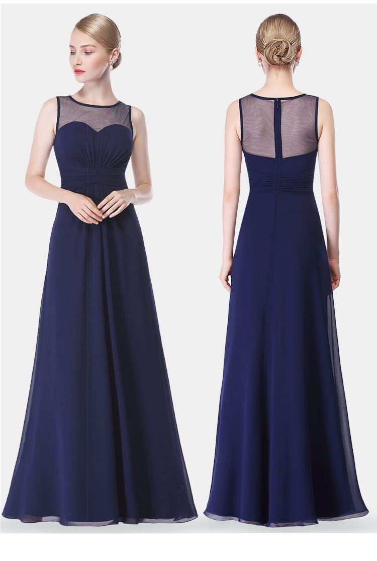Compre Vestidos De Dama De Honor De Color Azul Marino Azul Gasa Longitud Del Piso Largo Cintura Del Imperio Dama De Honor Joya Cuello Pura Cremallera