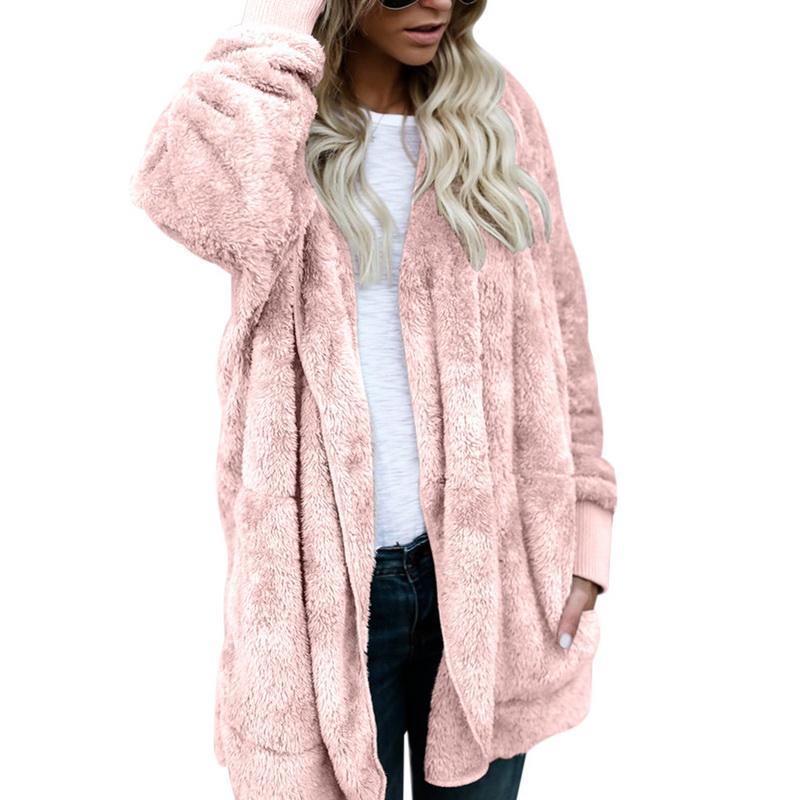 Faux Fur Warm Winter Coat Plus Size S-5XL Women Fashion Fluffy Shaggy Cardigan Bomber Jacket Lady Coats Zipper Outwear