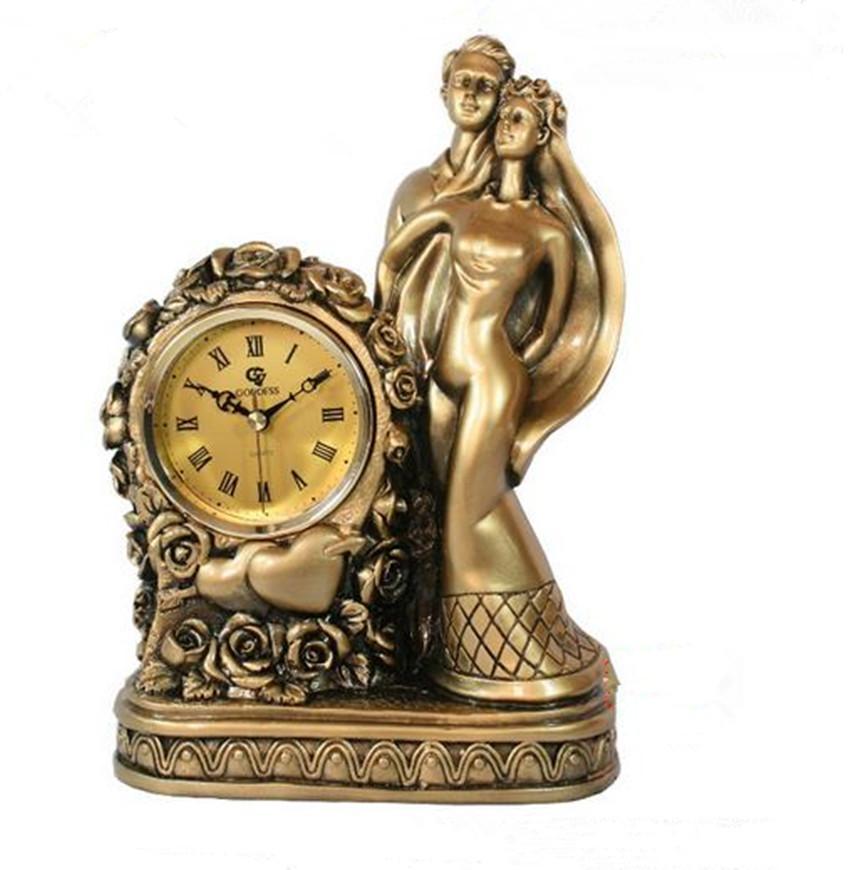 Relógio antigo europeu Presente de Casamento Resina Artesanato Home Decor Casal Casamento Estátua Relógio Relógio De Mesa De Ouro De Mesa 2