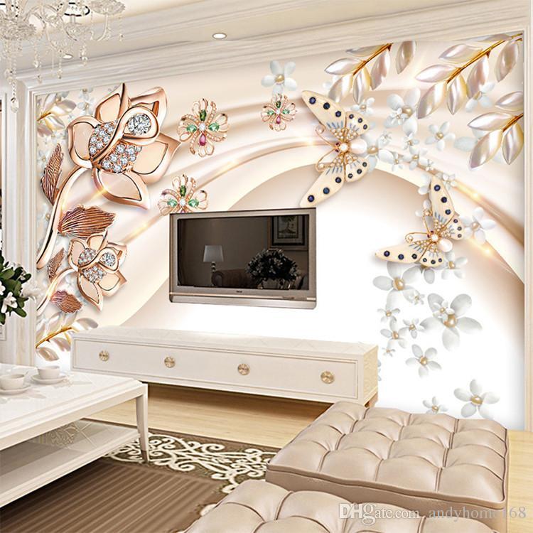 Custom Any Size 3D Wallpaper Interior Noble Fondo de la Pared Pintura Decorativa de Pared Pintura Mural Sala de estar TV Mural de Seda