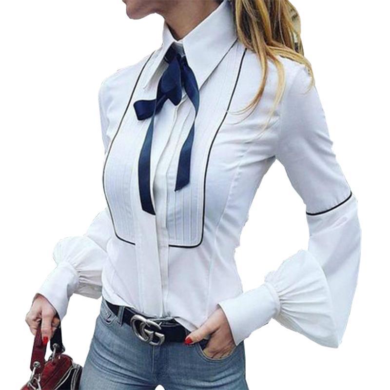القوس التعادل البلوزات النساء فانوس كم القمصان الأعلى زر قمصان بيضاء الإناث أنيقة مكتب الأعلى مثير نادي حزب قميص blusas GV159