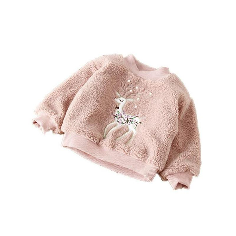 Girls Elk Fur Sweater Baby Pearl Beads Applique Sika Deer Padded Kids Leisure Clothes Girl Embroidery Pullover 2-7T Sup Jacket