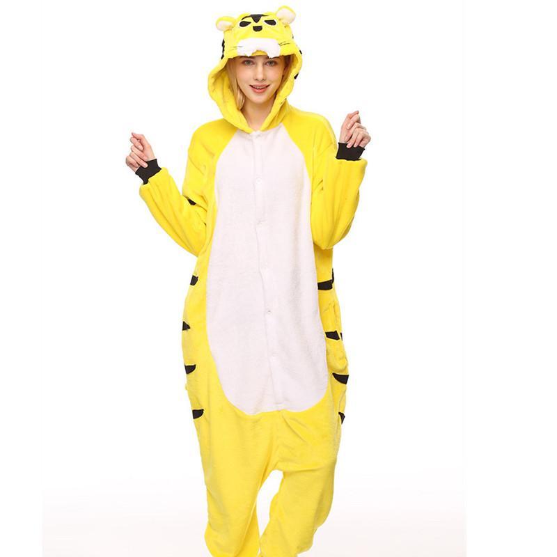 Vuxens flannel kigurumi gul tiger djur pyjamas unisex onesie kostym för halloween karneval nyår fest