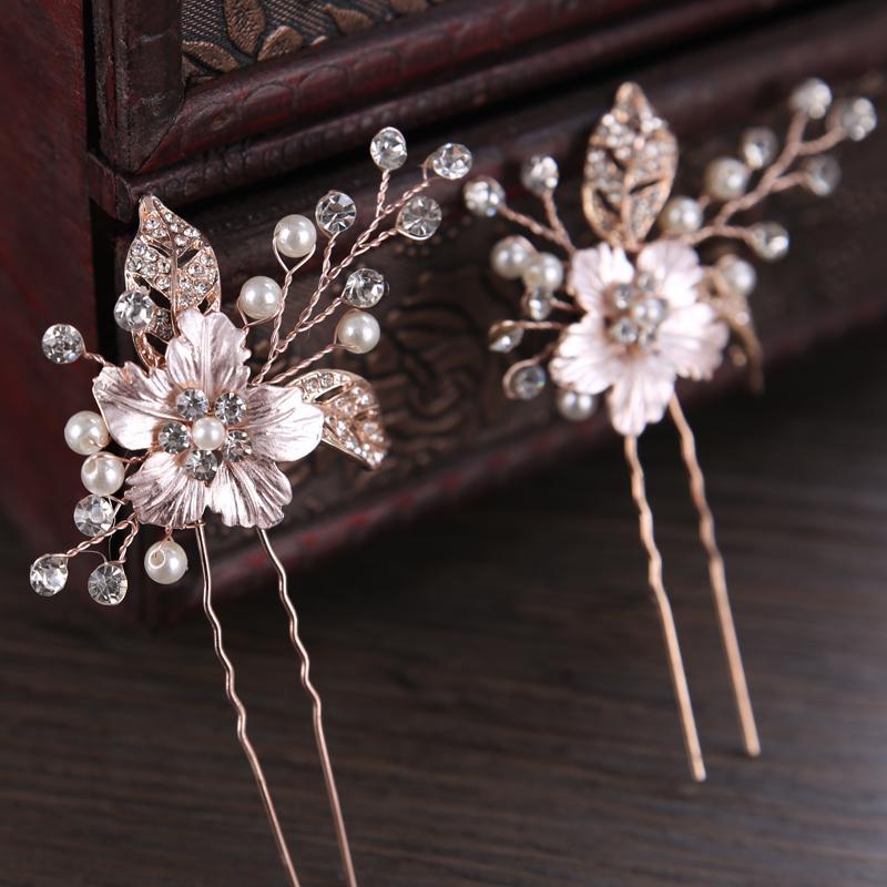 2021 Vintage Silver Rose Gold Hair Accessories Women Wedding Rhinestone Tiara Hairpins Clips Leaves Bridal Hair Sticks Ornament S918 From Ruiqi07 9 62 Dhgate Com