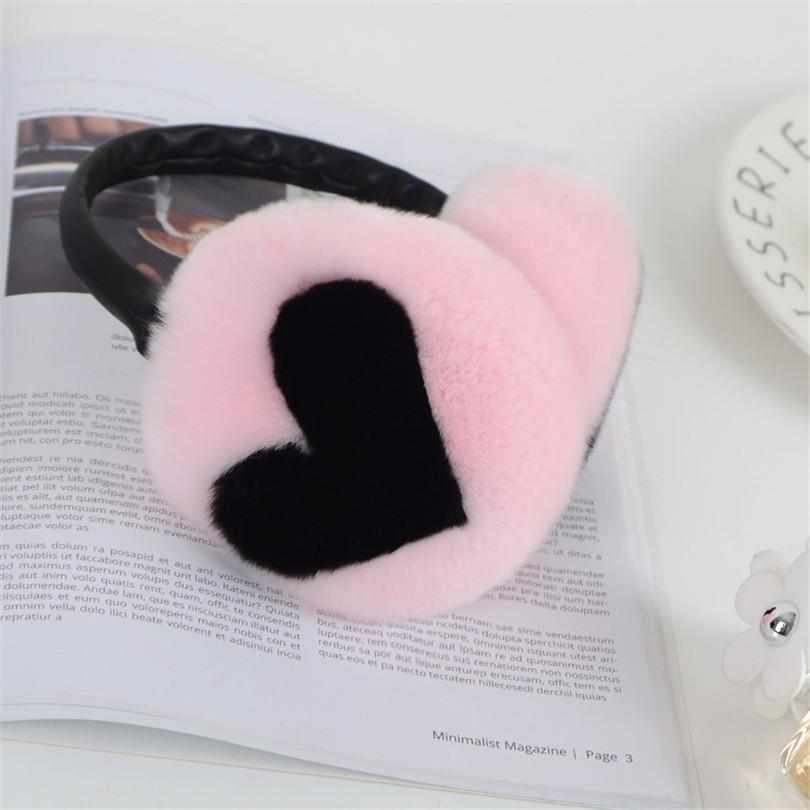 Women Fashion Winter real Rex Earmuffs Cute Heart Warm Thick Ladies Ear Covers High Quality Fur Ear Warmer for Girls muffs