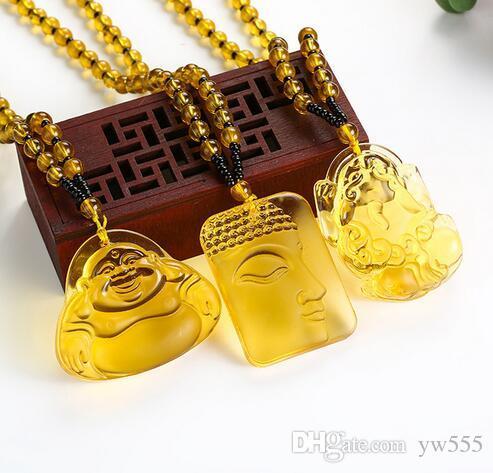 Colgante, collar, Buda, colgantes, joyería fina, mujeres, hombres, amarillo, cristal, alta calidad, natural, piedra, tallado