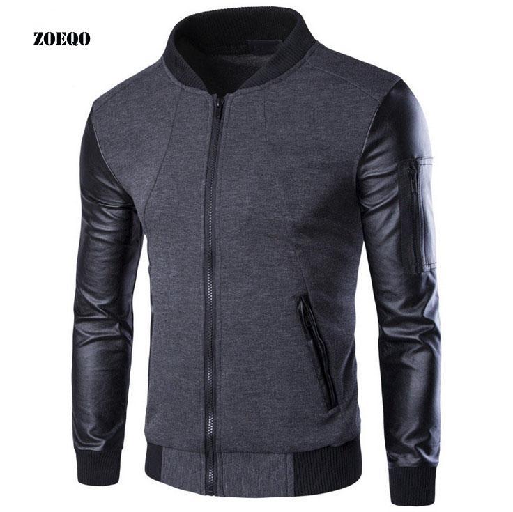 ZOEQO Men Hoodies Patchwork Leather Sleeve casual Sweatshirt Men Jacket Coat Tracksuits For Mens Masculino