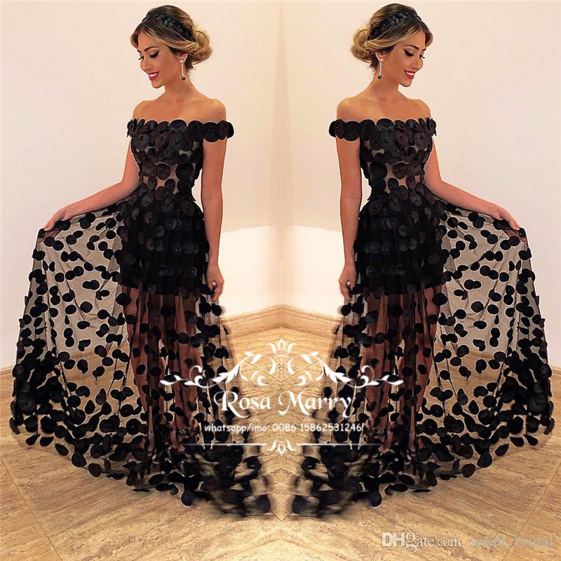 Gothic Black 3D Floral Evening Dresses 2019 Plus Size Off Shoulder Beaded Arabic African Illusion Skirt Cheap Formal Prom Party Gowns