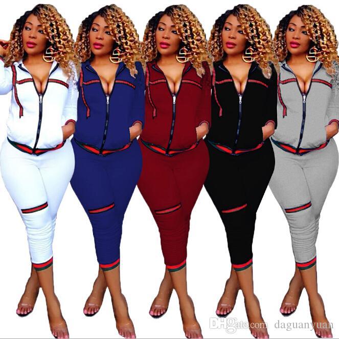 Noir / Blanc / Bleu / Vin Automne / Hiver Style Femmes Ensemble Deux Pièces Avant Zipper jusqu'à Poches Tops Longueur Mollet Pantalons Costumes En Ligne