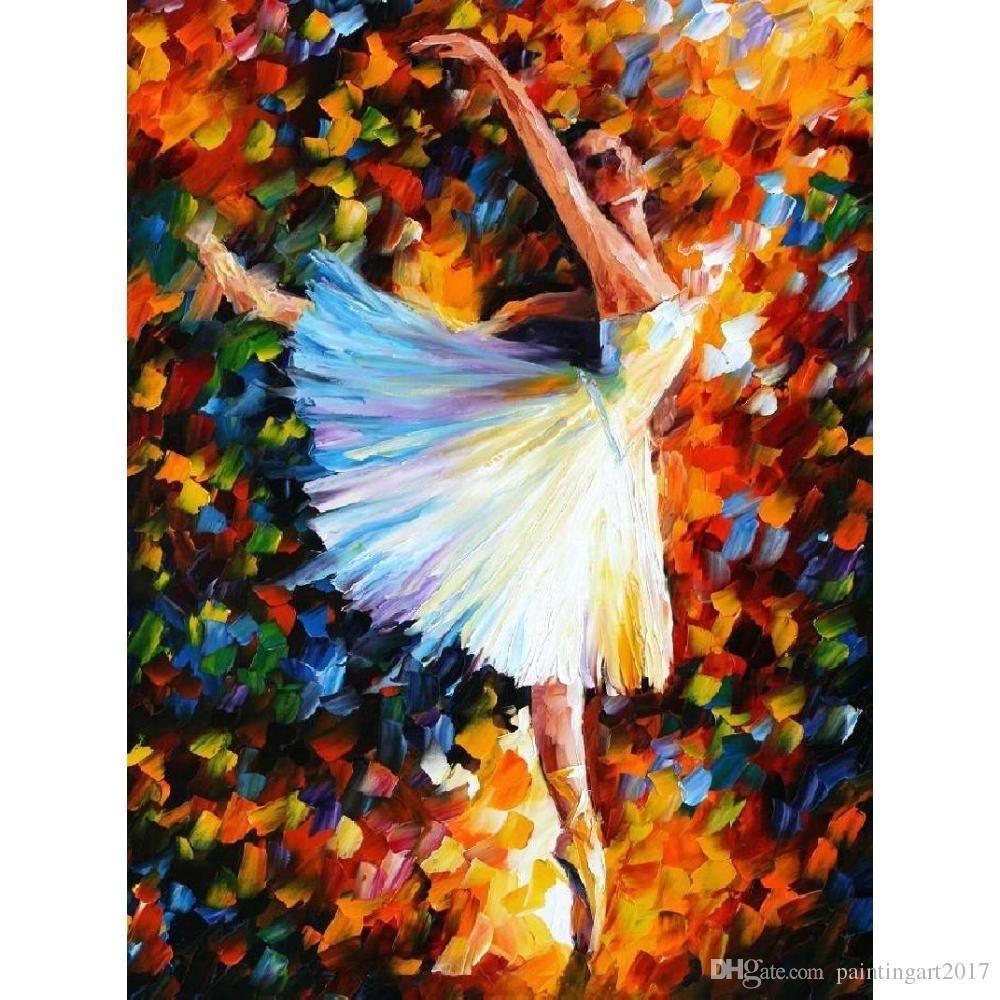 Modern art Portrait Woman ballet Palette knife oil painting on canvas High quality Handmade home decor