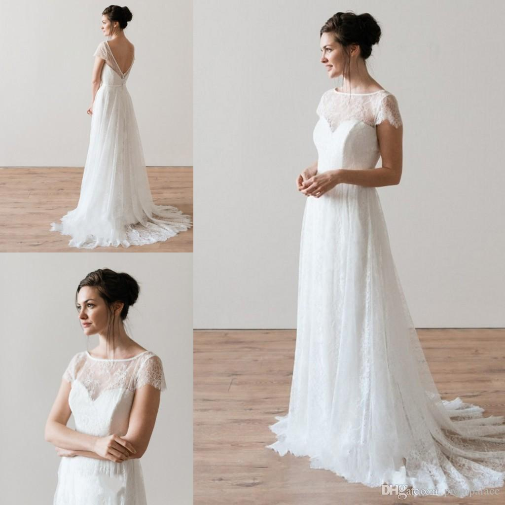 Discount Online Lace Backless Wedding Dresses Short Sleeves A Line Full Appliques Bridal Dresses Cheap Elegant Wedding Gowns Lace Wedding Dresses