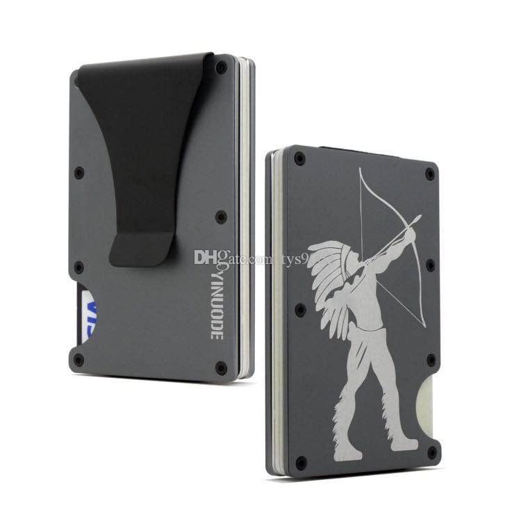 Portafoglio, Slim con supporto in alluminio Minimalista RFID Blocking Blocking Block Clip Pocket Pocket Clip per uomo HVKBX