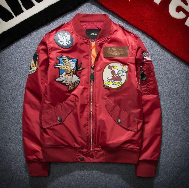 Tide marque hiver vol veste pour hommes hip hop brodé veste de baseball médaille hommes de bande dessinée figure hommes coupe-vent livraison gratuite