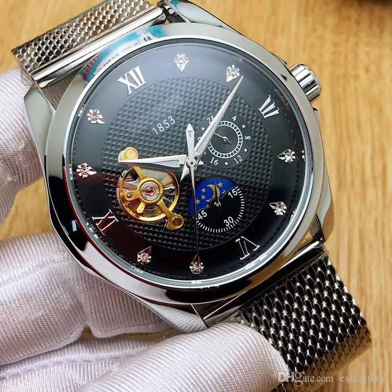 new arrival men watches 43mm dial Mechanical Automatic Full Stainless Steel band watch for men Waterproof wristwatch Relogio Masculino 2018