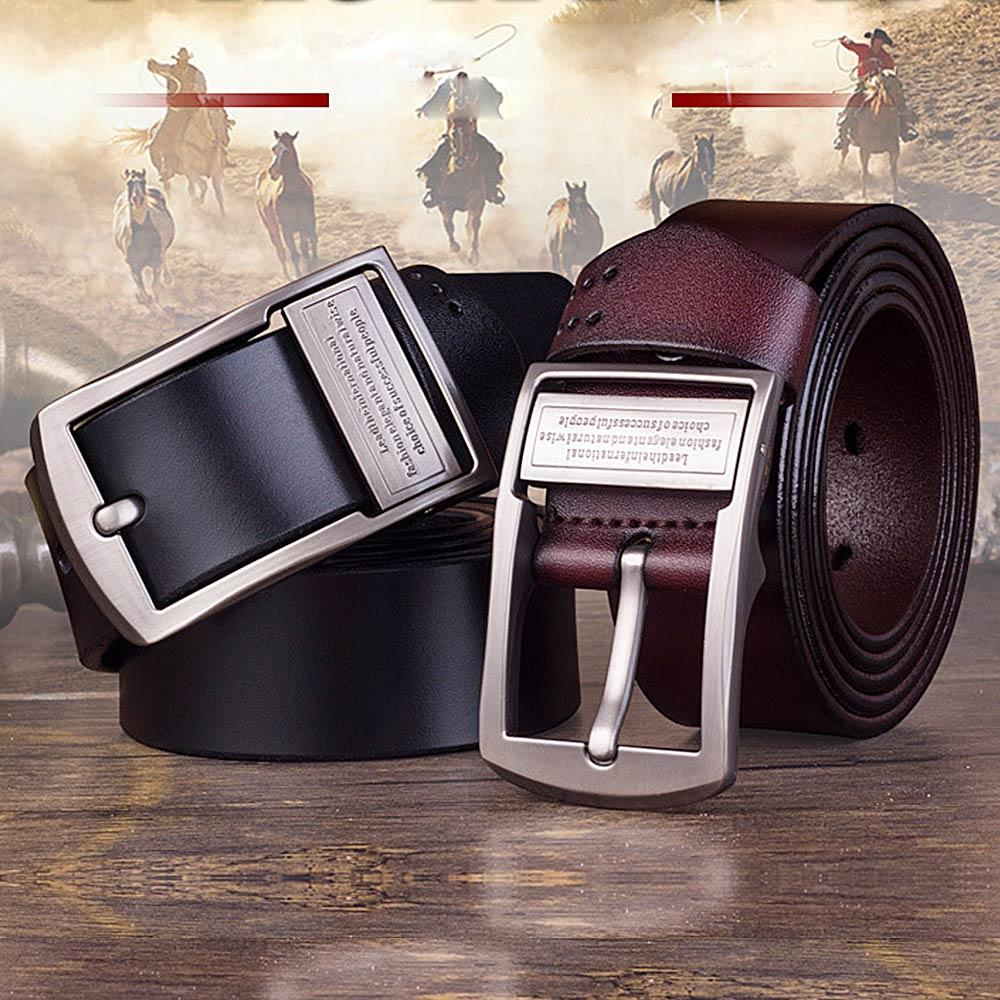 New Cowhide Genuine Leather Belt for Men Brand Male Pin Buckle Jeans Cowboy Mens