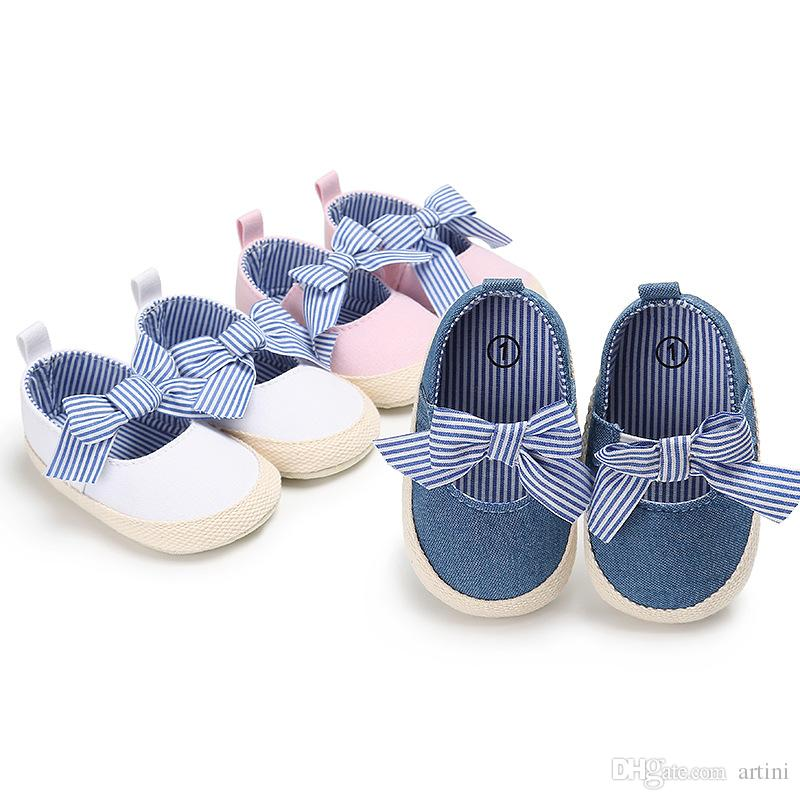 Baby Girls Princess Shoes Infant Toddler Crib Bebe Kids First Walkers Jane Striped Big Bow Soft Soled Anti-Slip shoes G139Q