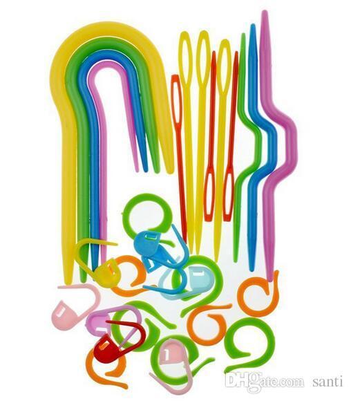 Acheter Arts Nouveau Set Abs Plastique Knit Point Aiguilles à Tricoter Crochet Crochet Marqueurs En Plastique Aiguille Clip Artisanat Tricot Crochet