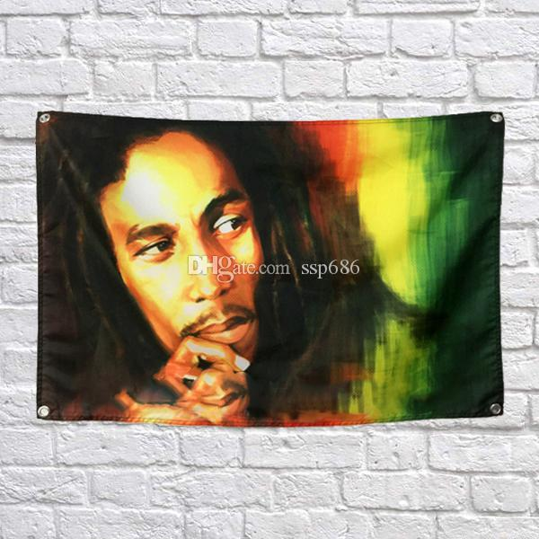 Bob Marley Flag Banner Poliestere 144 * 96cm Hang on the wall 4 occhielli personalizzati Flag Indoor Thinking