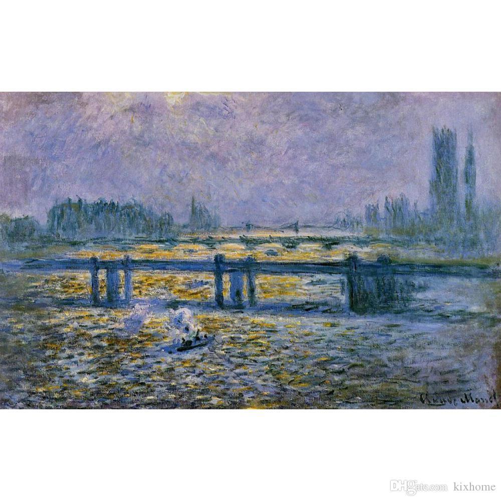Claude Monet pinturas a óleo Charing Cross Bridge Reflexões sobre a tela do Tamisa Reprodução de alta qualidade pintados à mão