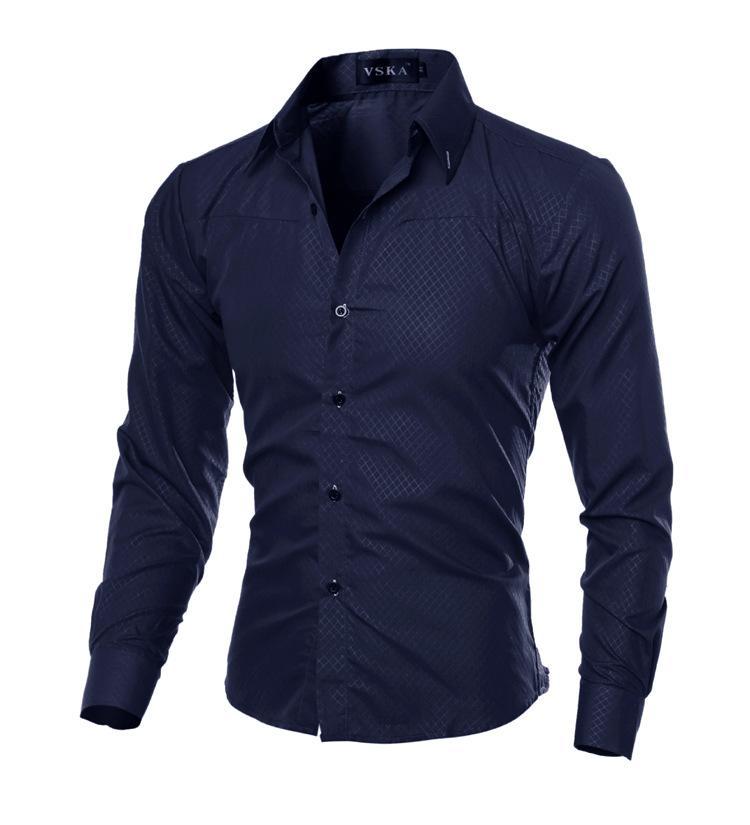 2018 Men longas da luva roupas masculinas Slim-fitting Tops Pure Color shirt Homens