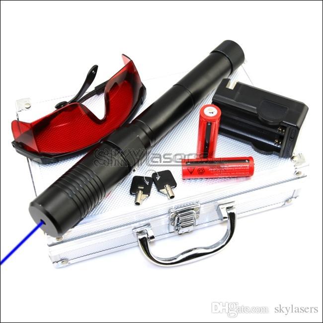 BX1-II Blauer Laserpointer mit einstellbarem Fokus, 450nm, mit 2 * 18650-Batterien Ladegerät-Schutzbrillen, Sicherheitsschlüssel und Aluminiumbox