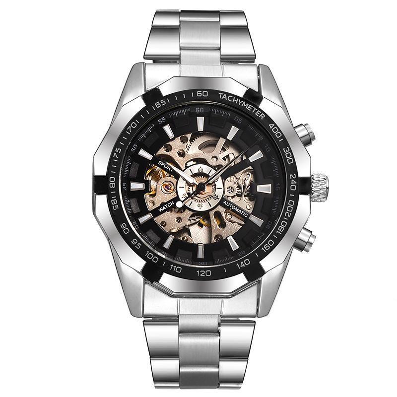 Esportes dos homens assistir negócios de alta qualidade Luminosa Automático relógios mecânicos nk moda vk moda estilo aço Inoxidável Strap oco