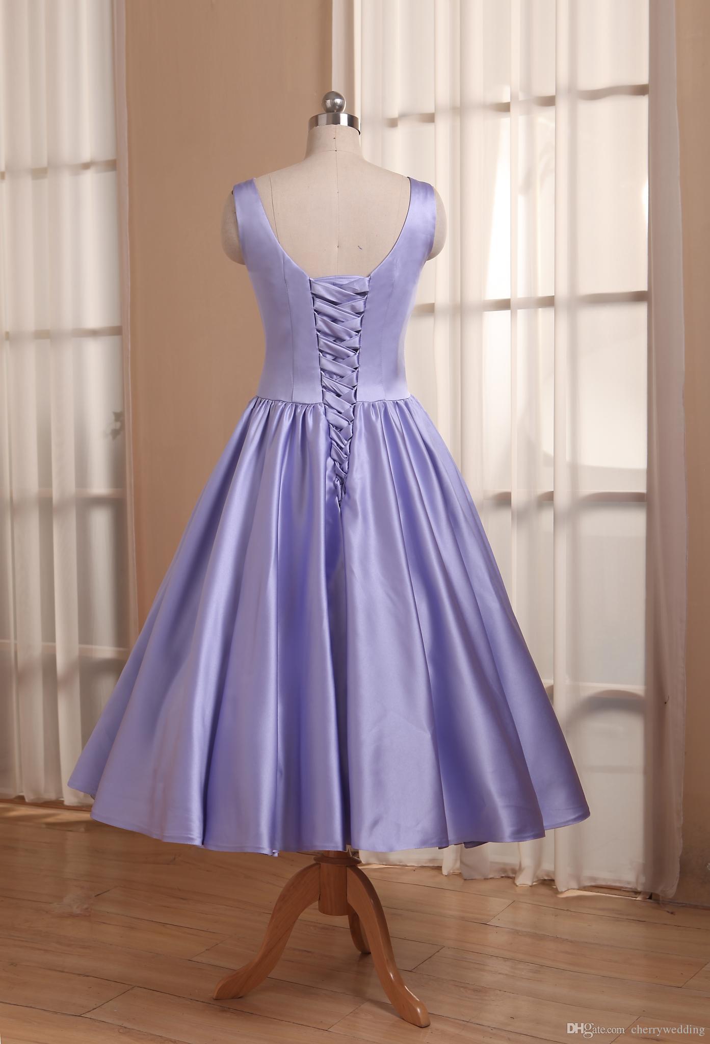 2018 Elegant Tea-Length Wedding Dresses High Neck Satin Short ...