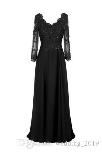 Hot new black chiffon long sleeved Prom dress shoulder collar net applique heart-shaped wrapped back strap A pendulum maxidresses shipping