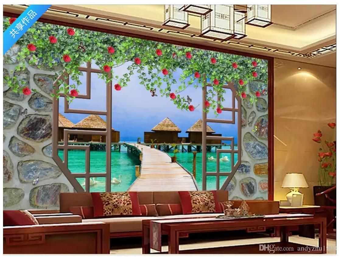Murales 3d Per Interni.Acquista All Ingrosso 3d Foto Wallpaper Personalizzato 3d Murales Paesaggio Pittura Tv Sfondo Muro Decorazione D Interni Pittura Carta Da Parati