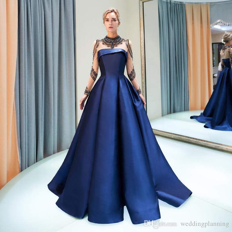 Sheer Neck and Long Sleeve with Applique Beading A-Line Blue Prom Gown Evening Dresses 2018 Goddess Special Occasion Dresses Custom-Made