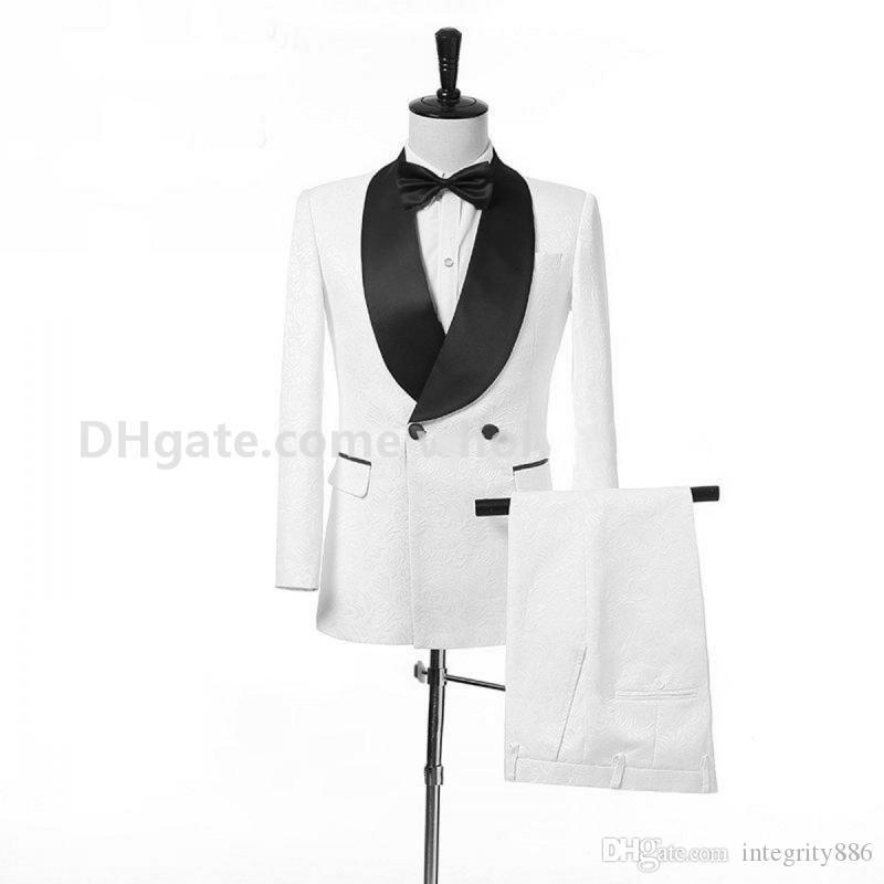 Özel Yapılmış Beyaz Paisley Şal Yaka Yan Vent Damat Smokin Erkekler Parti Groomsmen Suits Mens İş Takımları (ceket + Pantolon + Kravat + kuşak) NO: 20