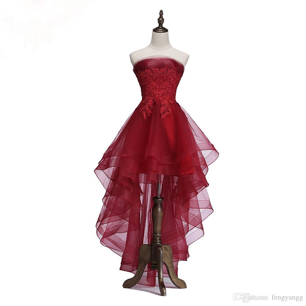 2018 Популярная Мода Новый Элегантный Вино Красное Коктейльное Платье Невесты Банкет Без Бретелек Короткие Передняя Длинная Задняя Сторона Формальное Платье