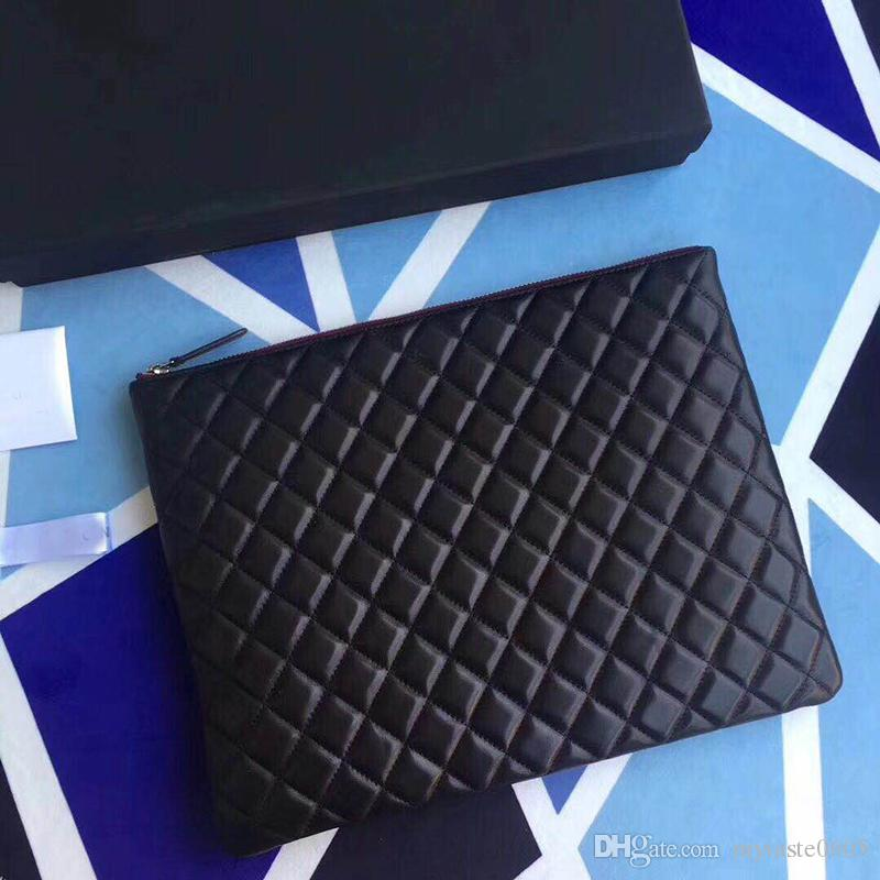 Highest Quality Women's 33cm Fashional Designed Lambskin Leather Clutch Bag Ipad Bag Quilted Zipper Handbag