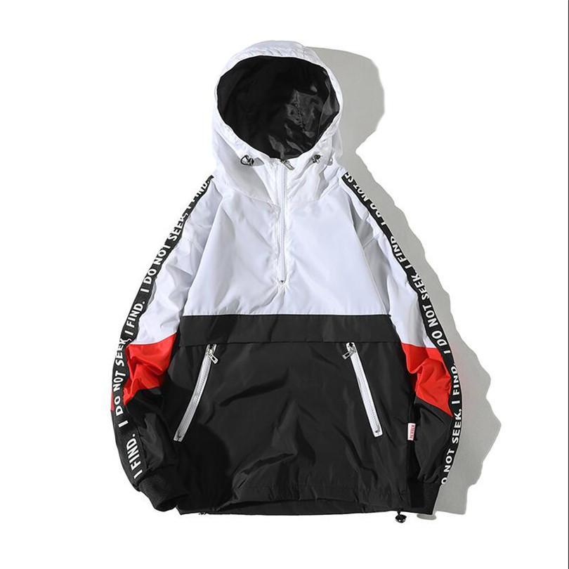 Jaquetas com capuz Homens 2018 Novo Patchwork Cor Bloco Pullover Jacket Moda Treino Casaco Casuais Homens Hip Hop Streetwear