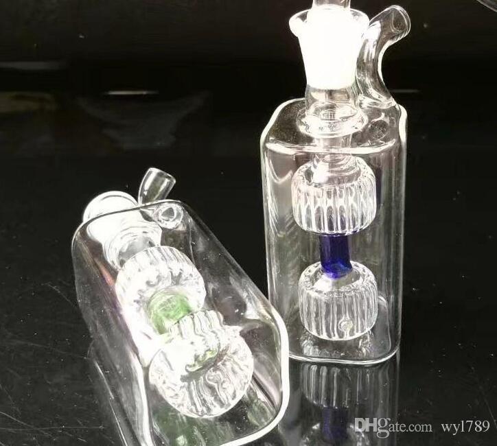 Hohe qualität mini 2 runde töpfe, Großhandel Glas bongs Ölbrenner Glas Rohre Wasserleitungen Öl Rigs Rauchen Kostenloser Versand jh